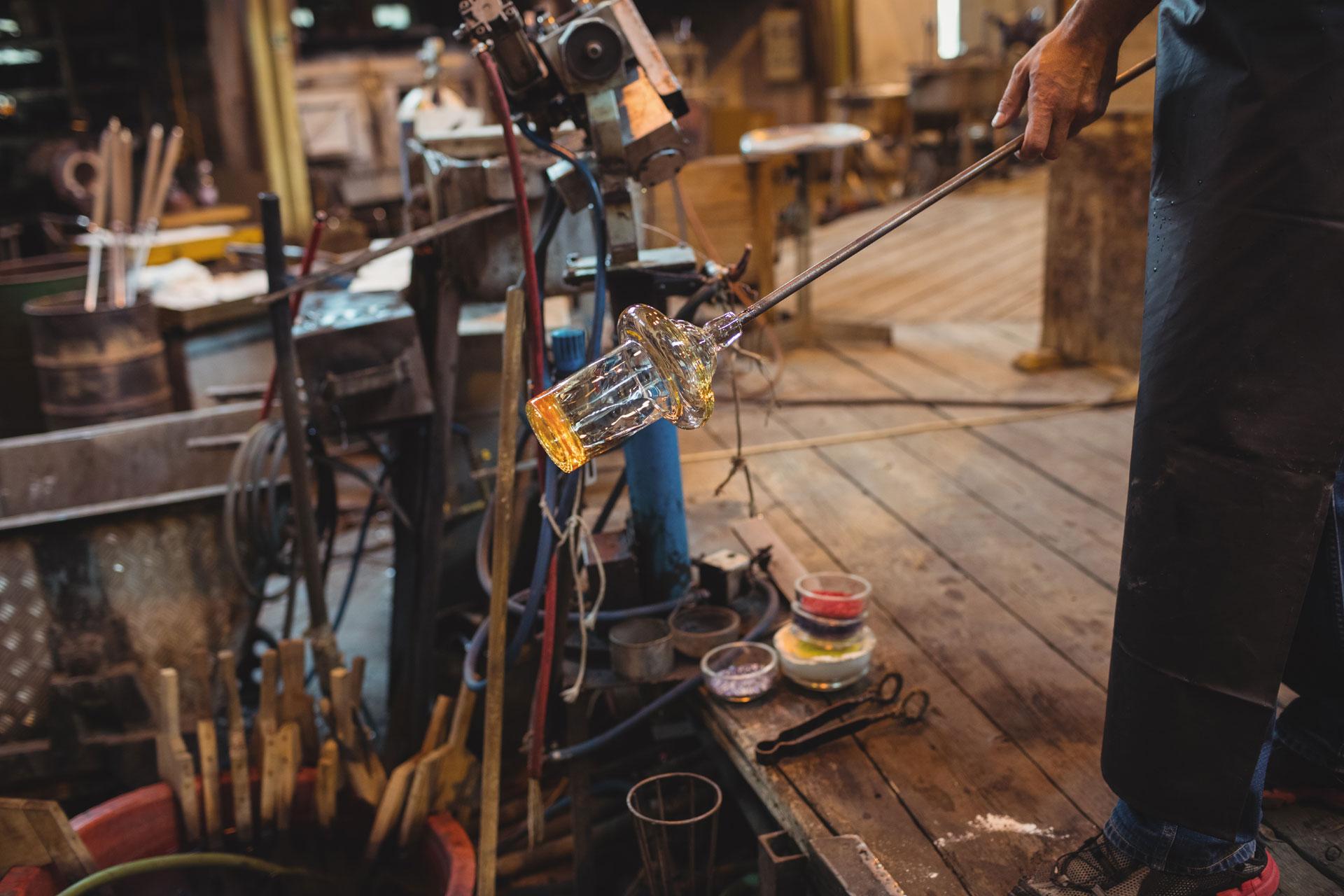Glass blower workshop